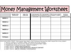 Mary Kay Money Management Worksheet