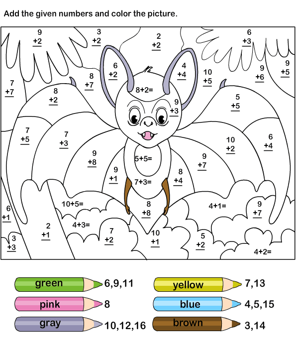 Addition 187 Color By Number Addition Worksheets 3rd Grade Addition Coloring Pages Grade