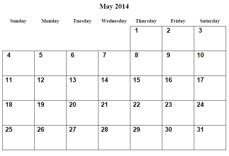 May 2014 Calendar Printable Free