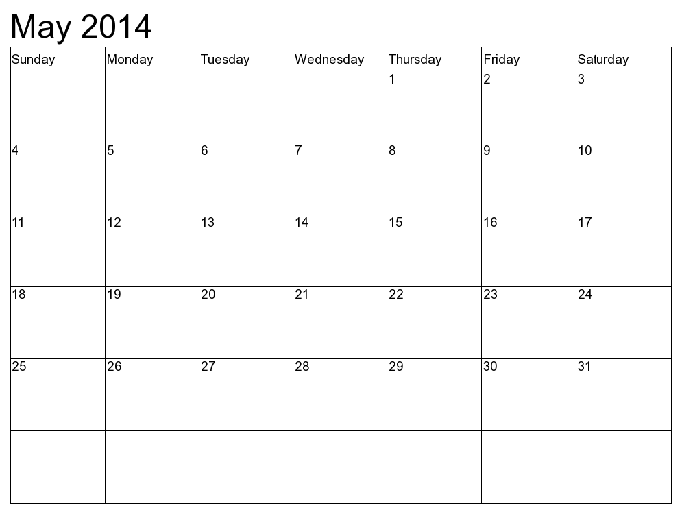 May 2014 Calendar Printable Template