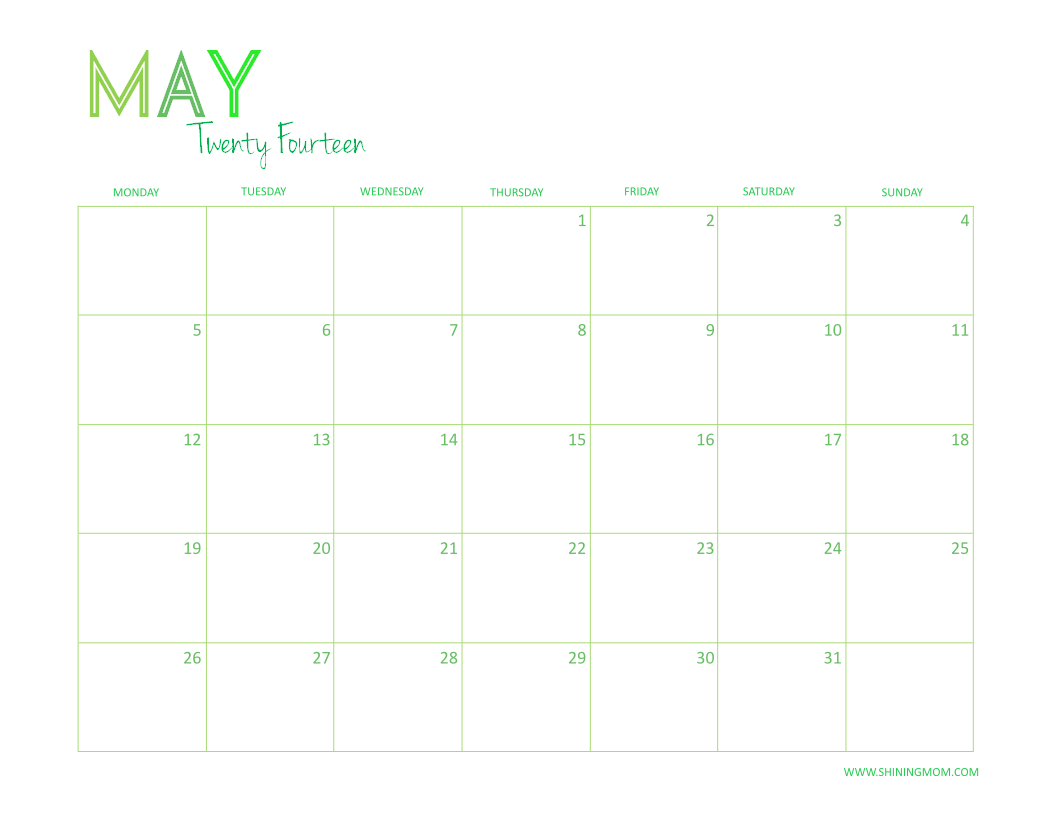 May June 2014 Calendar Printable