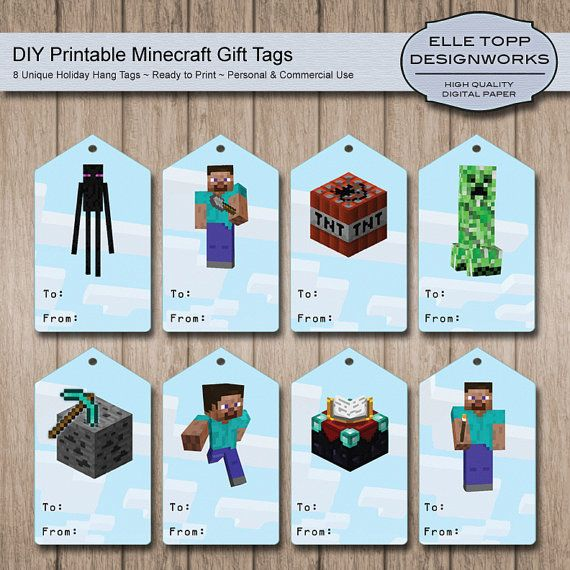 5 Images of Minecraft Printable Birthday Tag