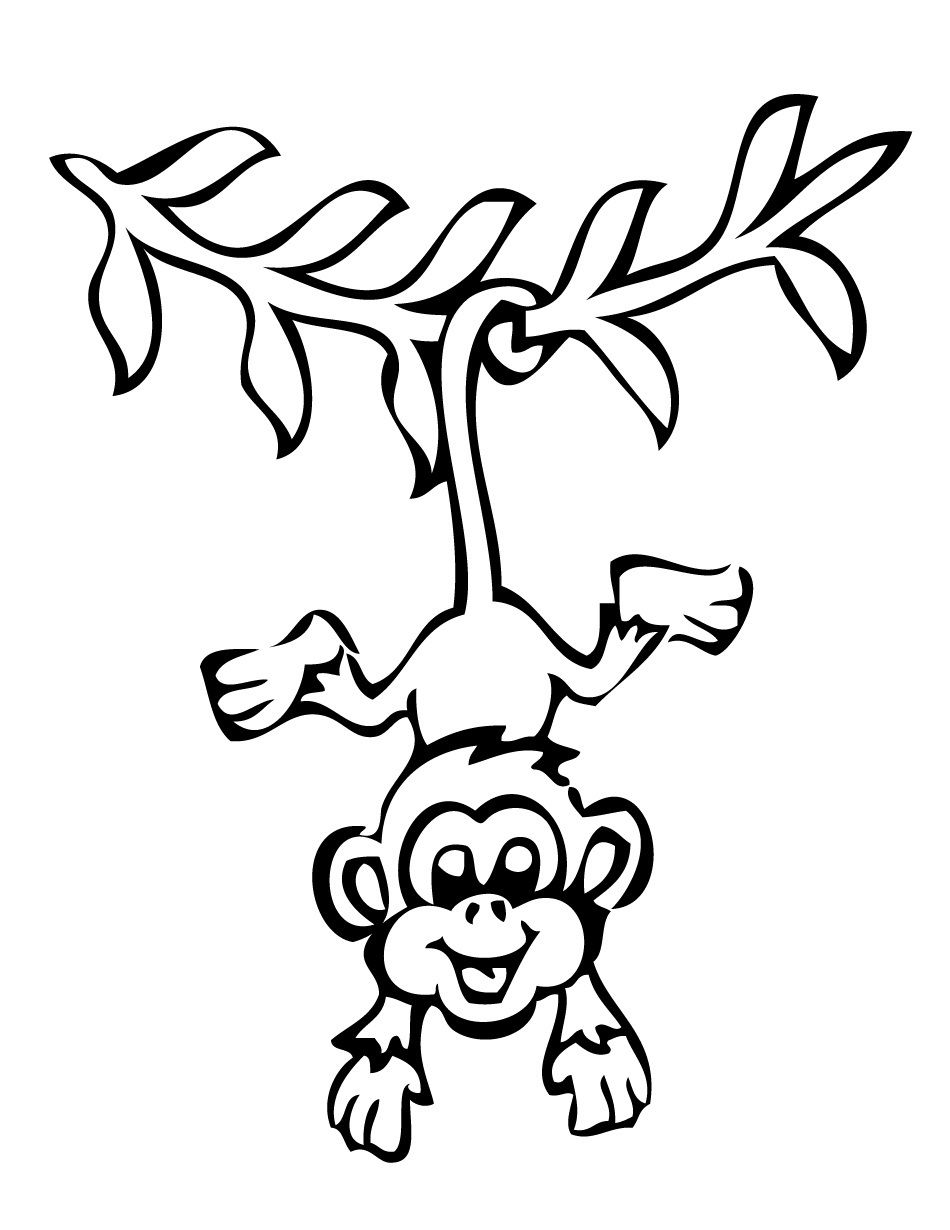 4 Images of Monkey Coloring Pages Printable