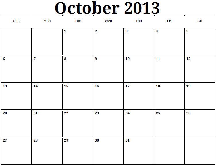 October Calendar 2013 : Best images of october calendar printable pdf