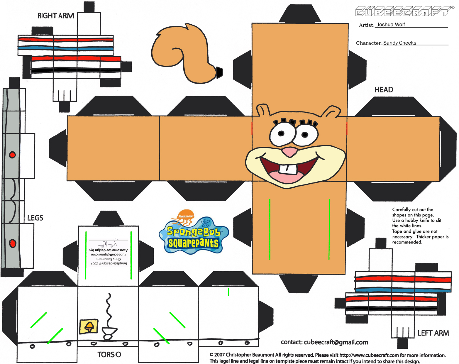 8 best images of spongebob 3d cut out printable paper for Cut out character template