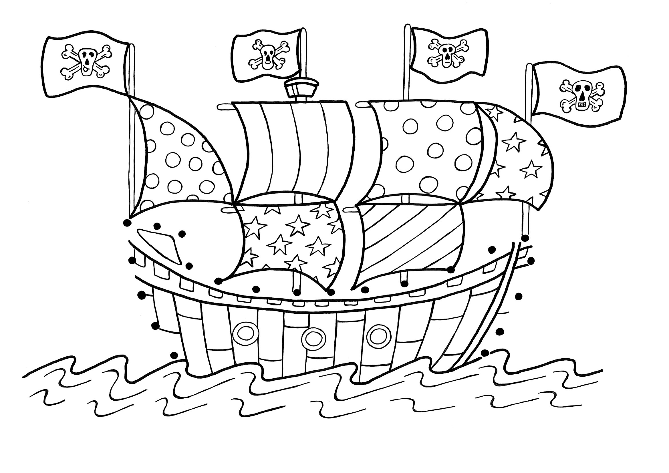 4 Images of Pirate Ship Coloring Pages Printable