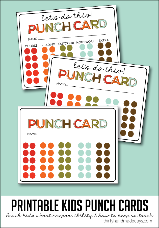 7 Images of Free Printable Chore Punch Card For Boys