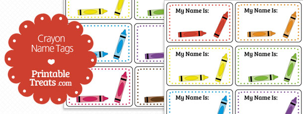 6 Images of Crayon Name Tags Free Printable