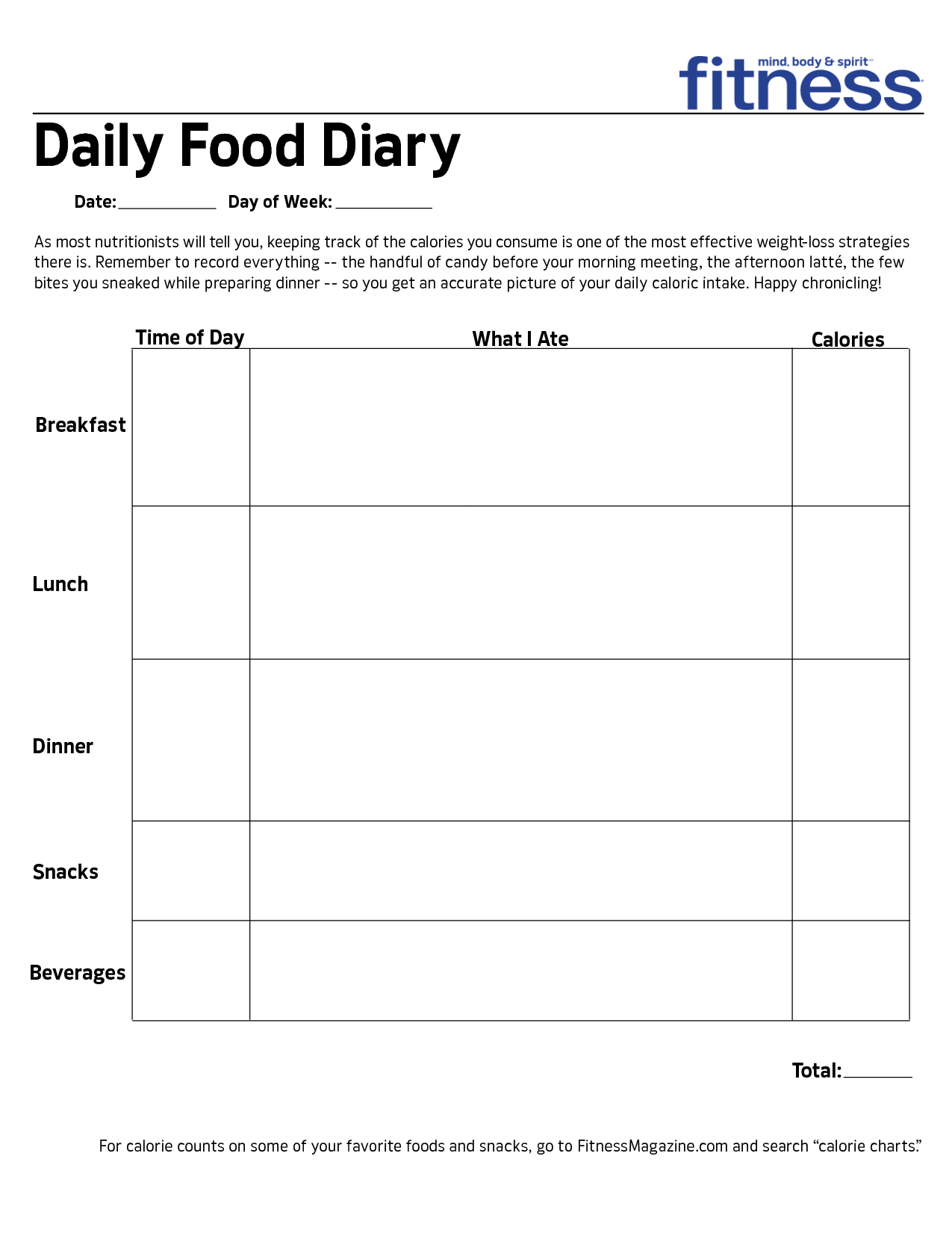 9 best images of daily food diary printable daily food for Keeping a food diary template