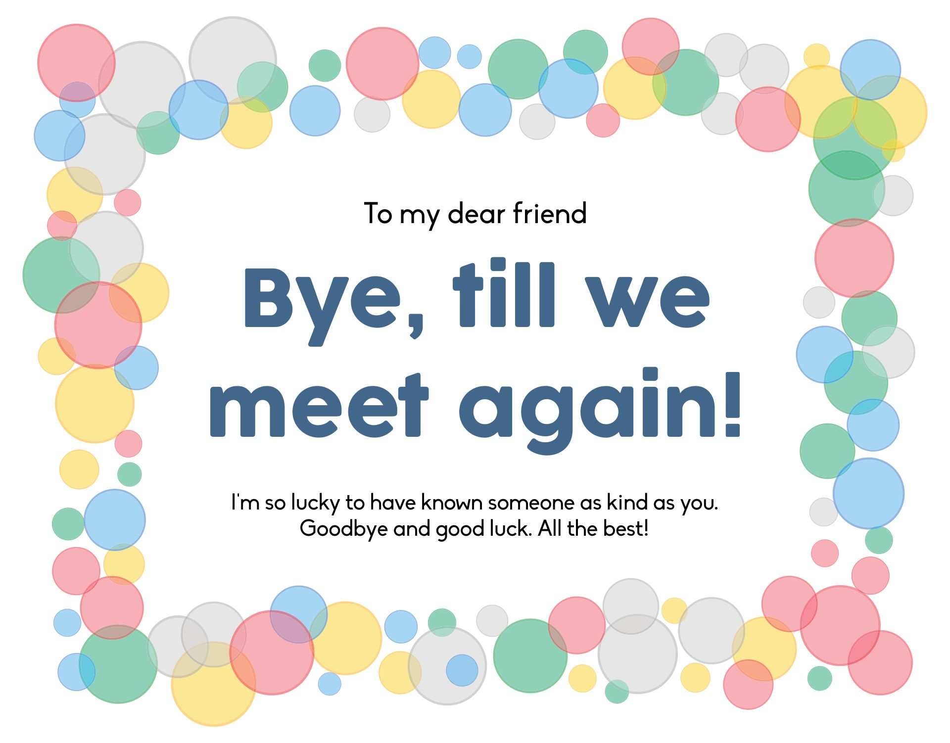 Printable Goodbye Card Template