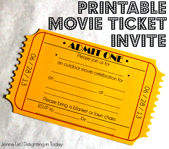 5 Images of Movie Party Ticket Invitation Printable