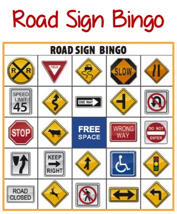6 Images of Road Sign Bingo Printable
