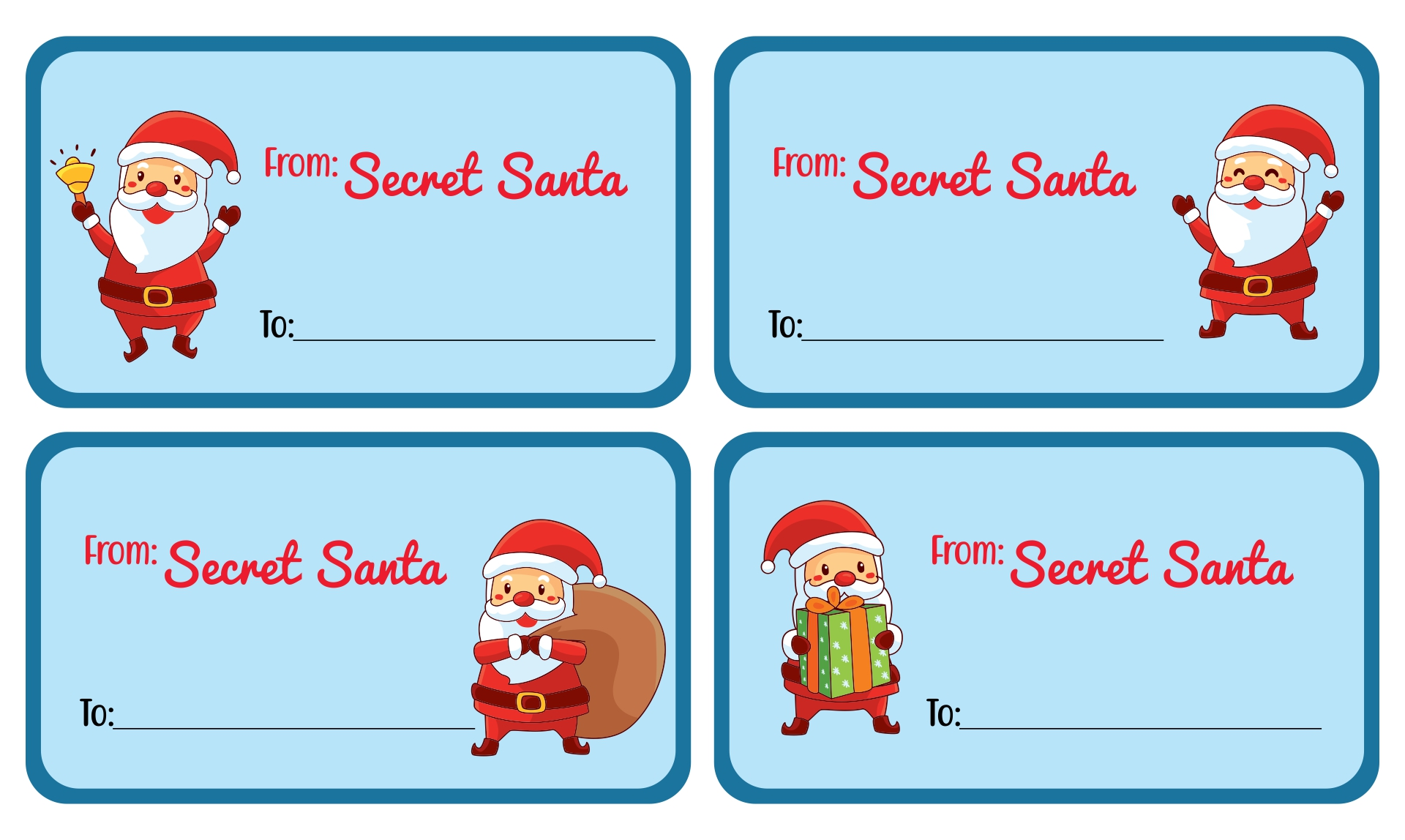 Printable Secret Santa Gift Tags