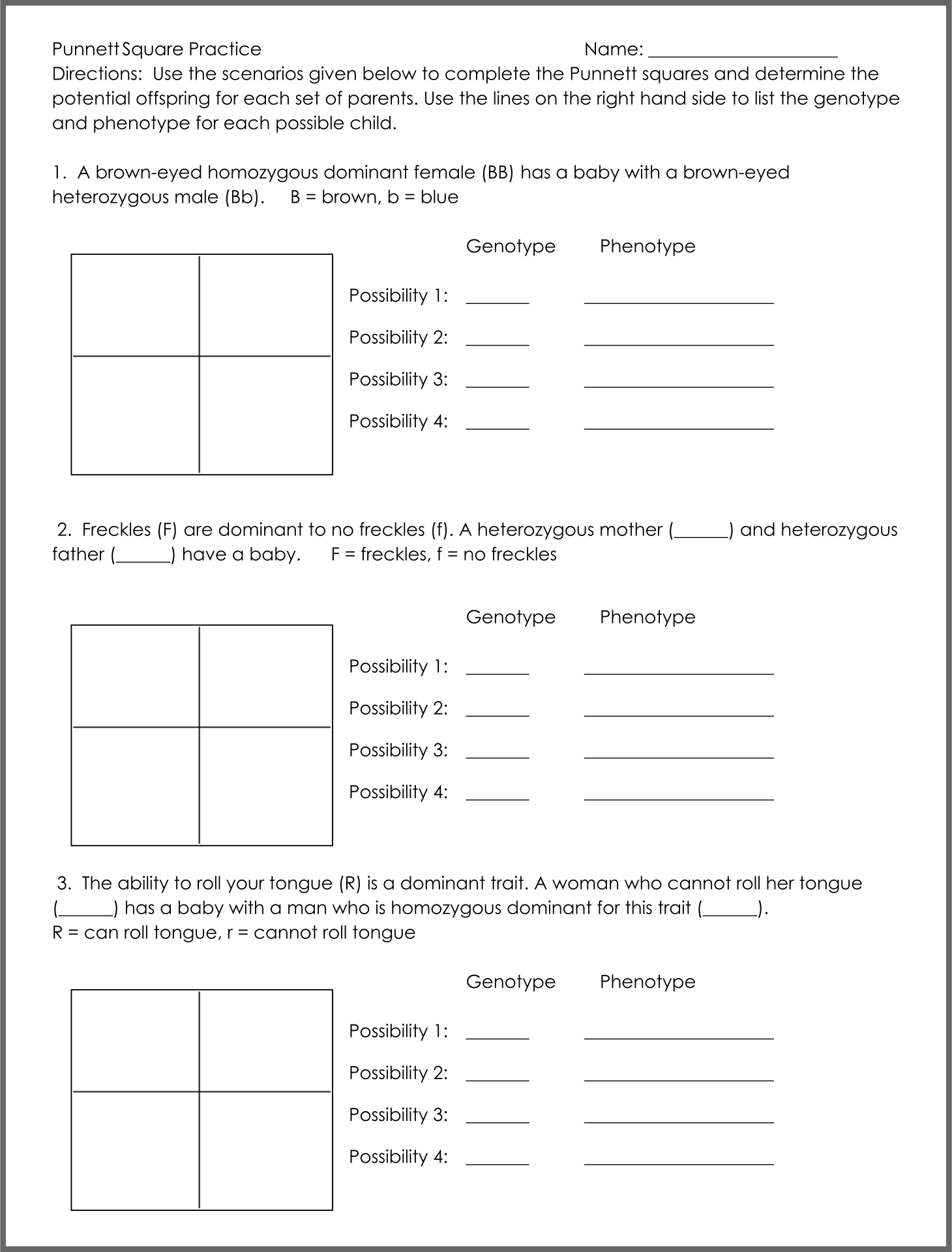 Worksheets Punnett Square Worksheet punnett square worksheets 5th grade diilz com com