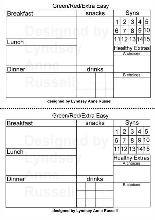 4 Images of Slimming World Food Diary Printable
