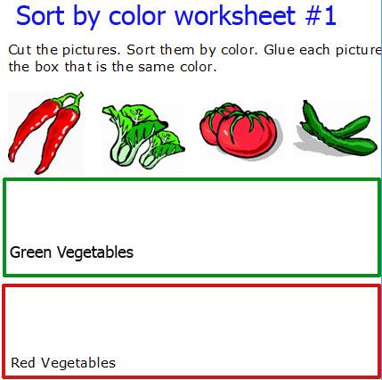 Sorting Colors Worksheets