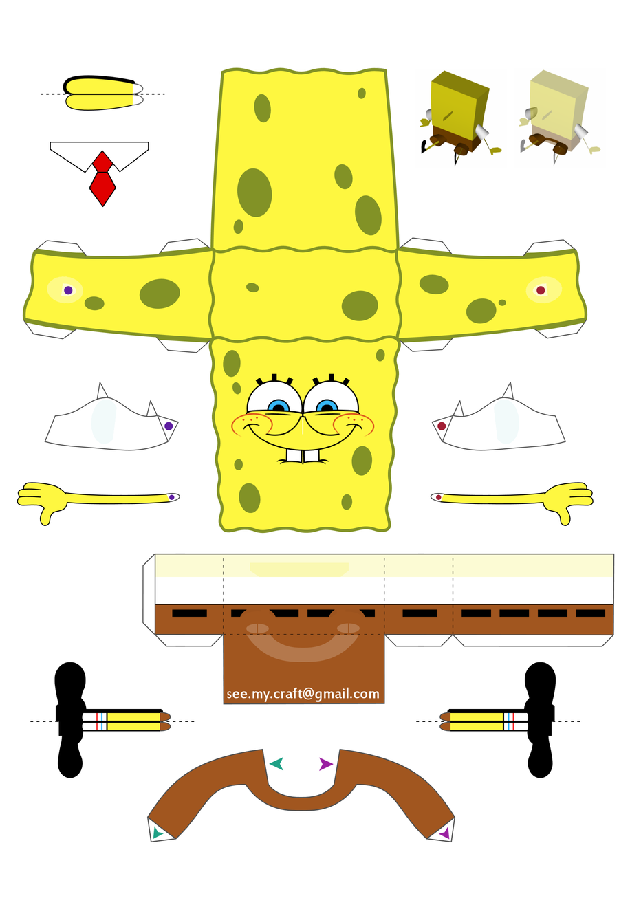 8 Images of Spongebob 3D Cut Out Printable Paper Crafts