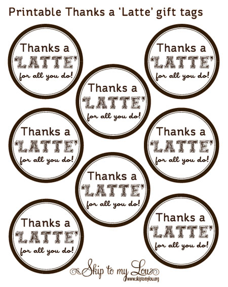 5 Images of Thanks A Latte Printable