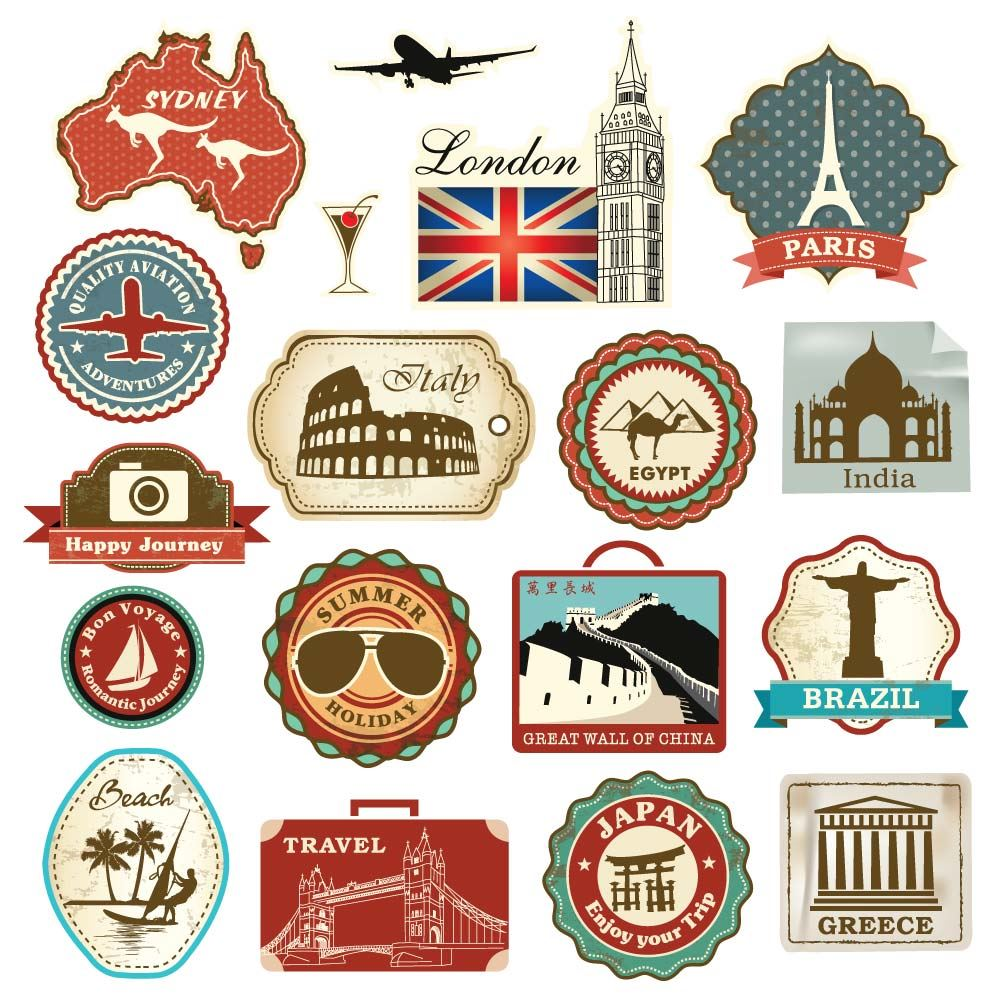 Vintage Travel Suitcase Stickers