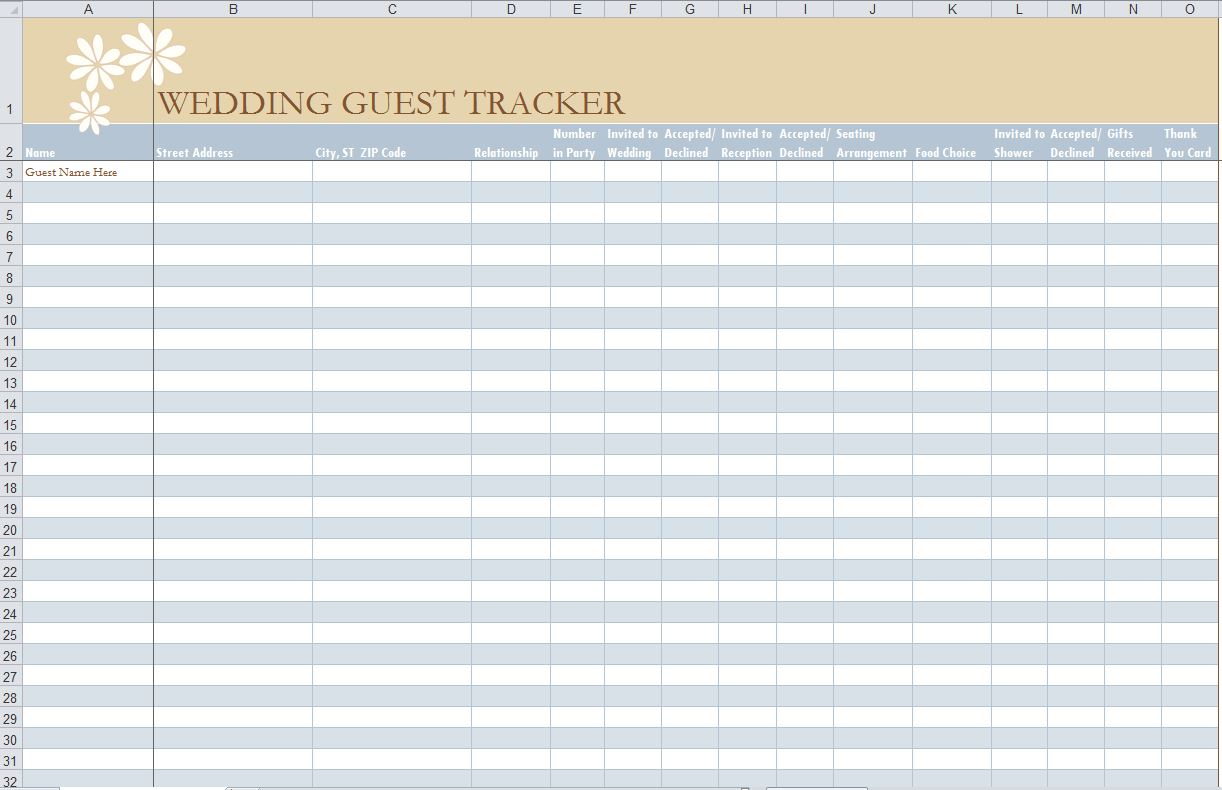 Sample Guest List. Wedding Guest List Planner Excel,Event Guest ...