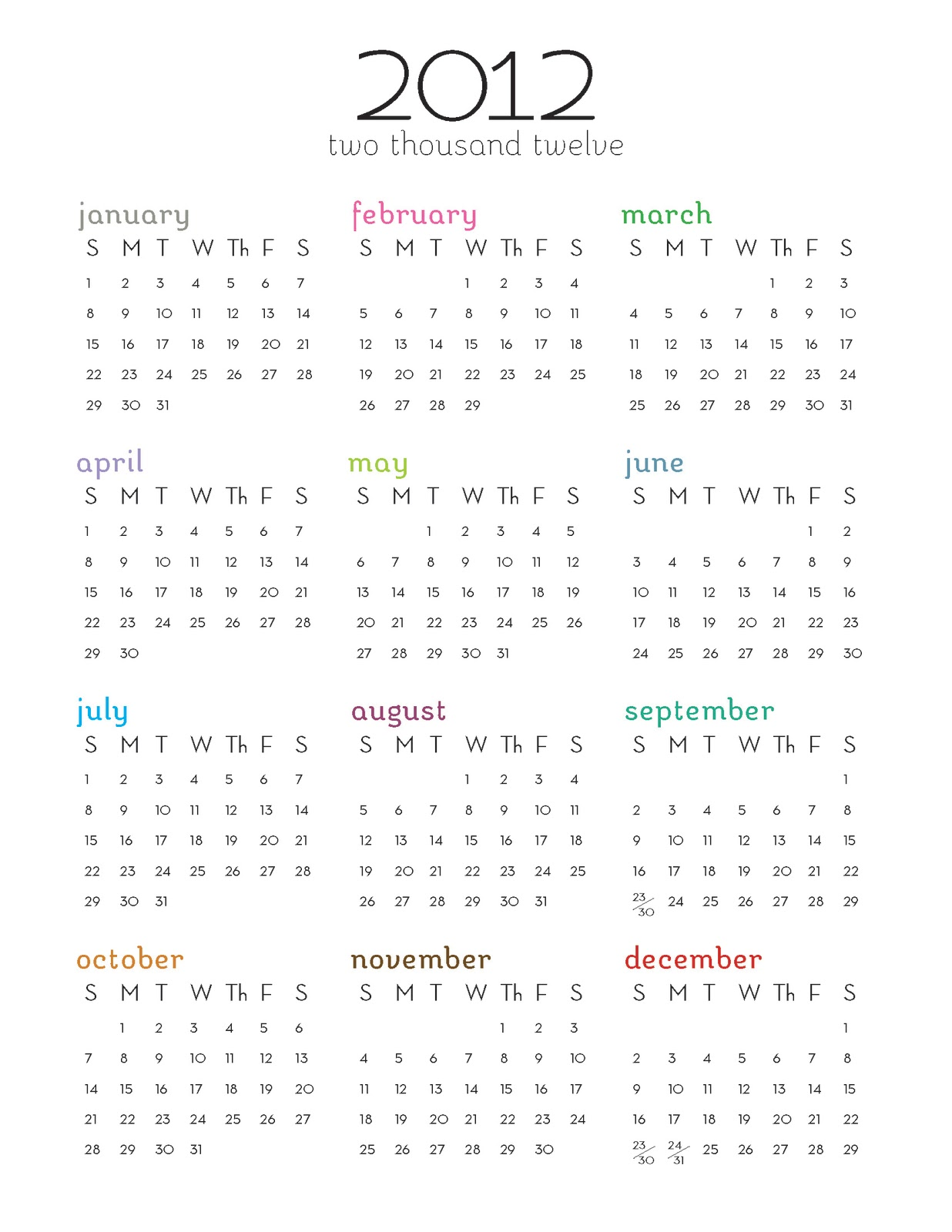 Year Calendar Printable One Page