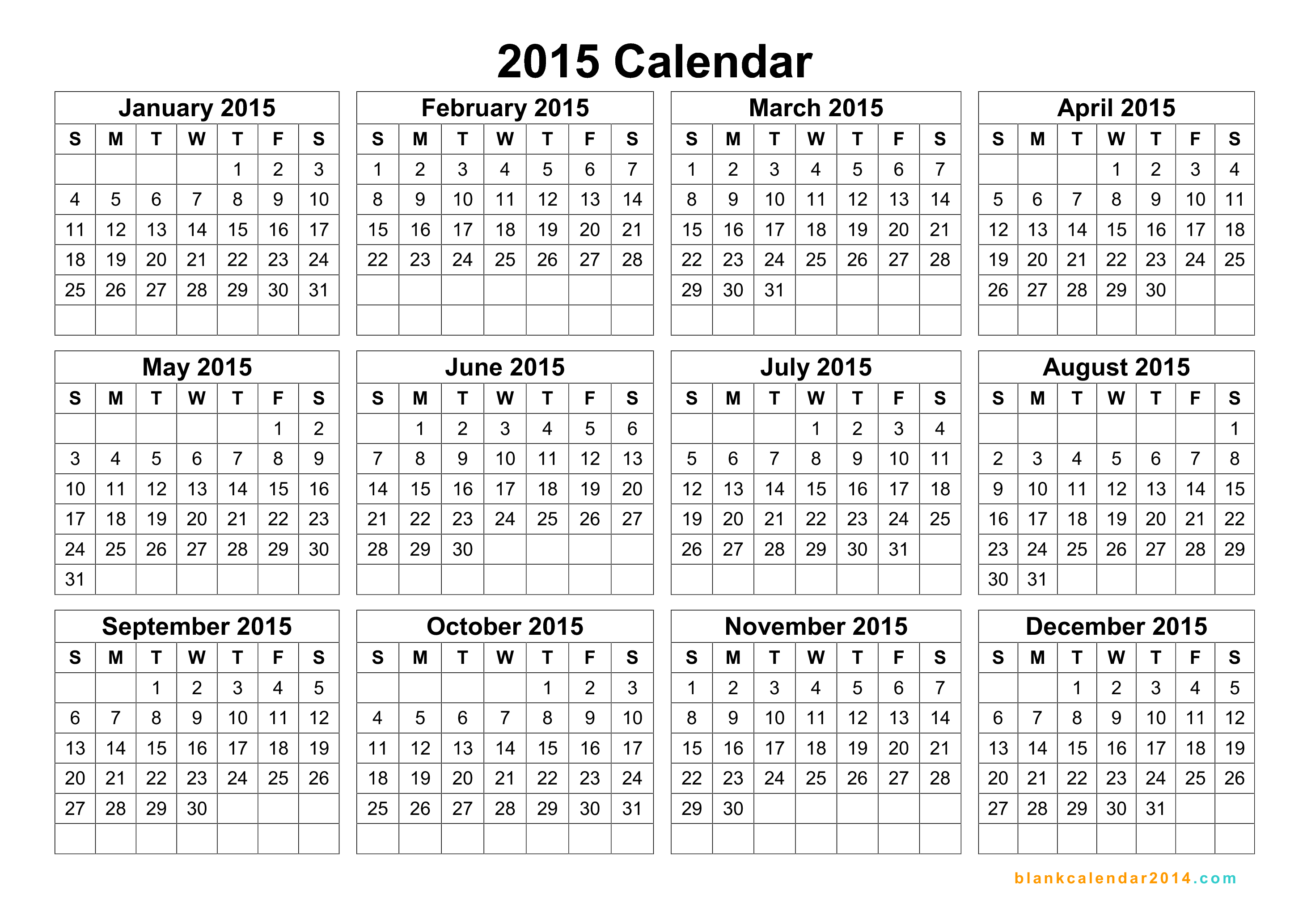 6 Images of 2015 Yearly Calendar Printable Free PDF