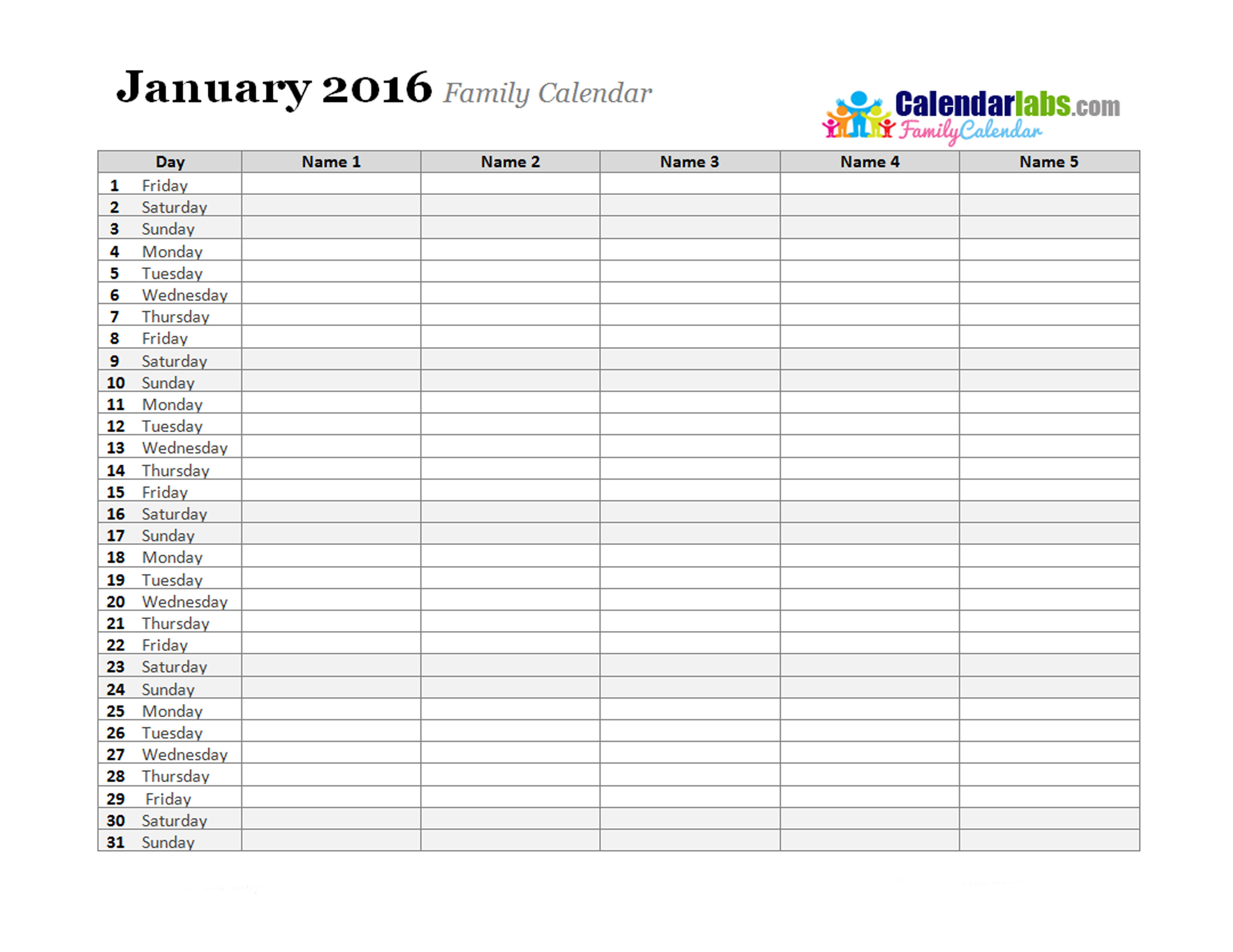 Calendar Planner Software Free : Best images of family monthly calendar printable