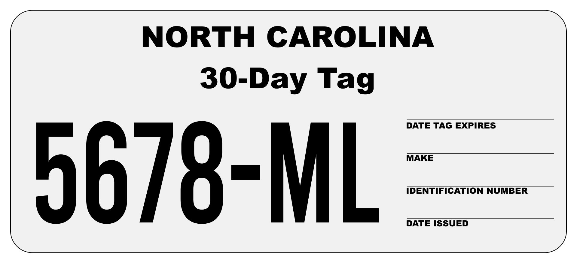 30-Day Temporary Tag North Carolina