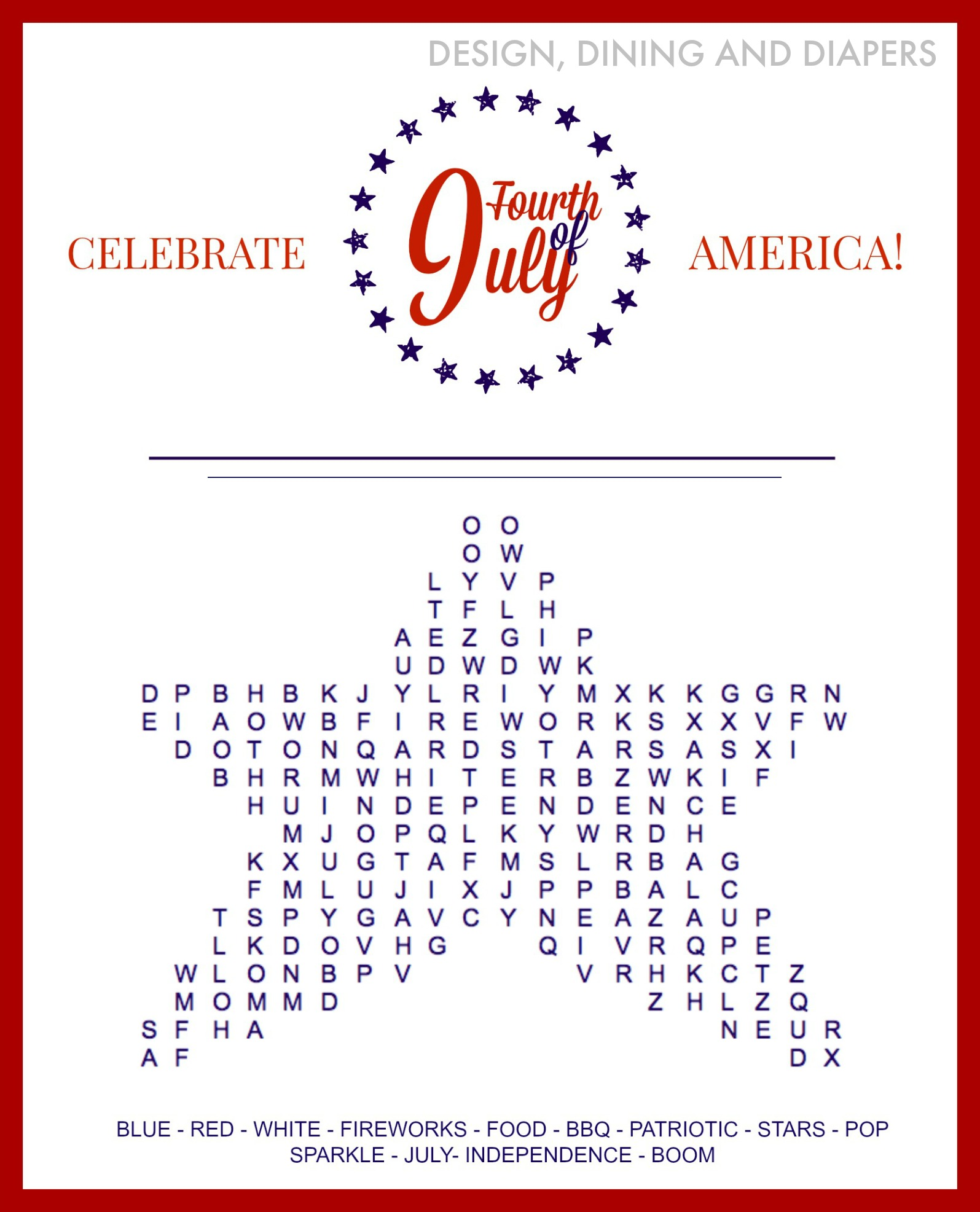 6 Images of July Word Search Free Printable