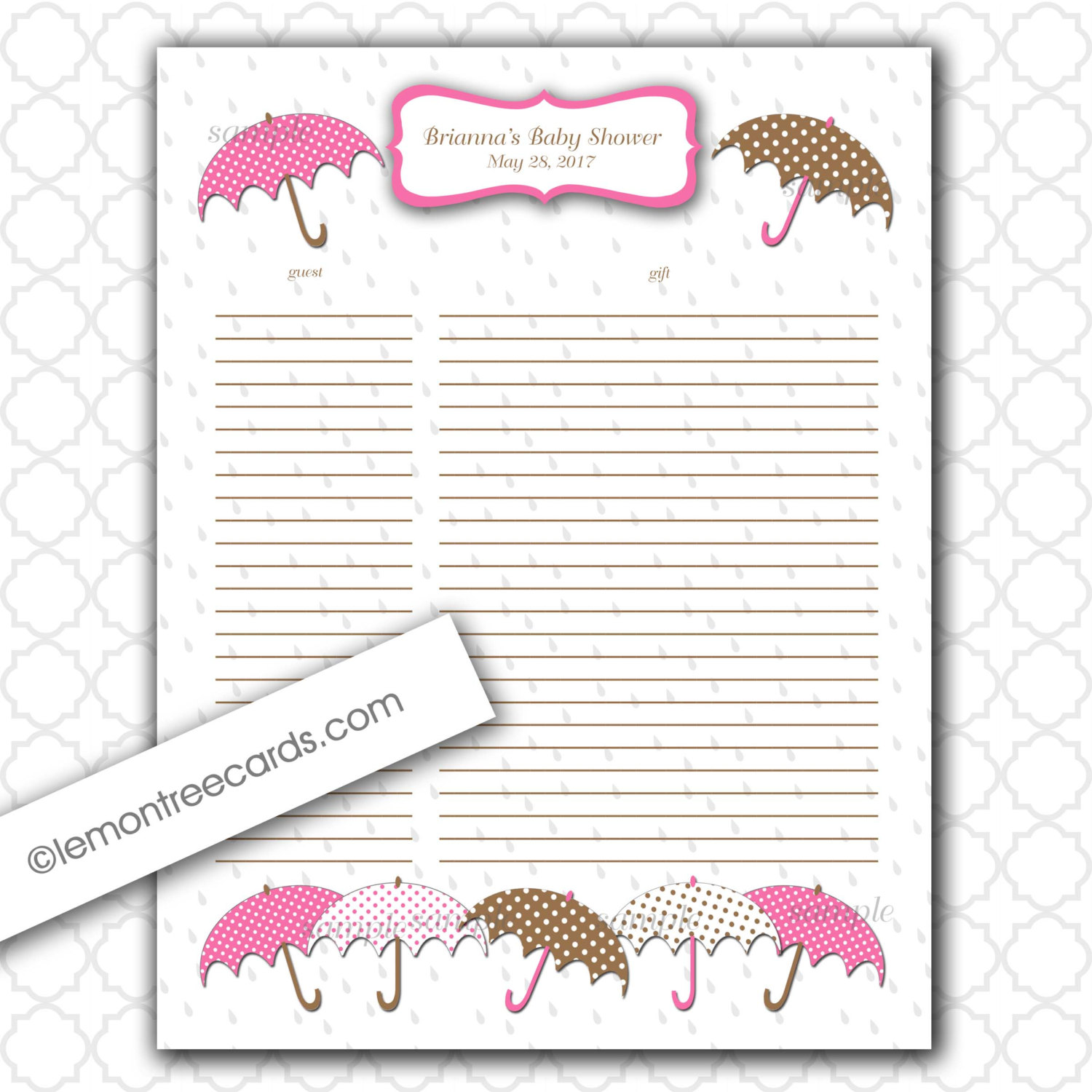 Baby Shower Gift List Printable ~ Best images of printable baby shower gift log