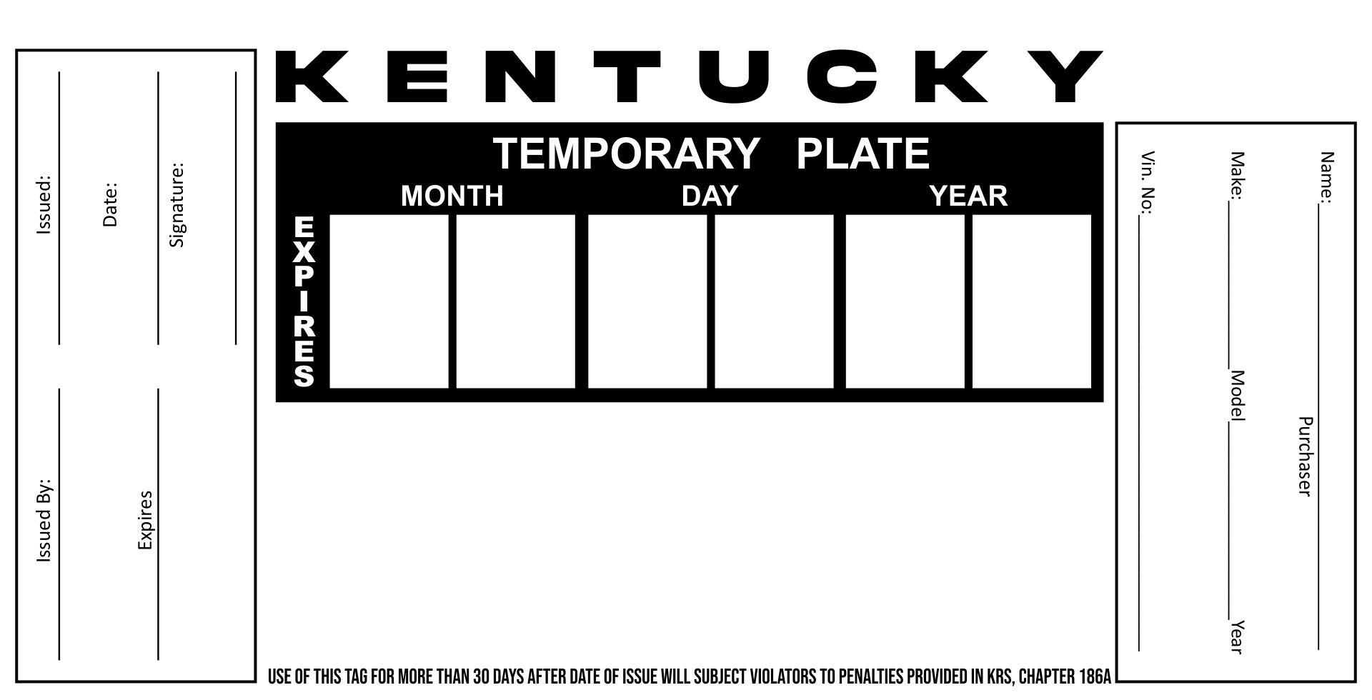 Blank Kentucky Temporary Tag
