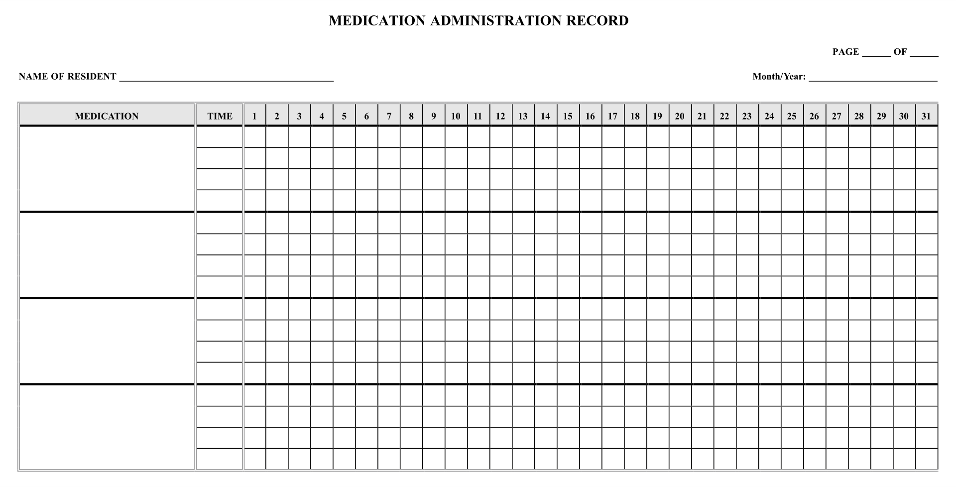 Printable Medication Administration Record Template - Free Printable ...