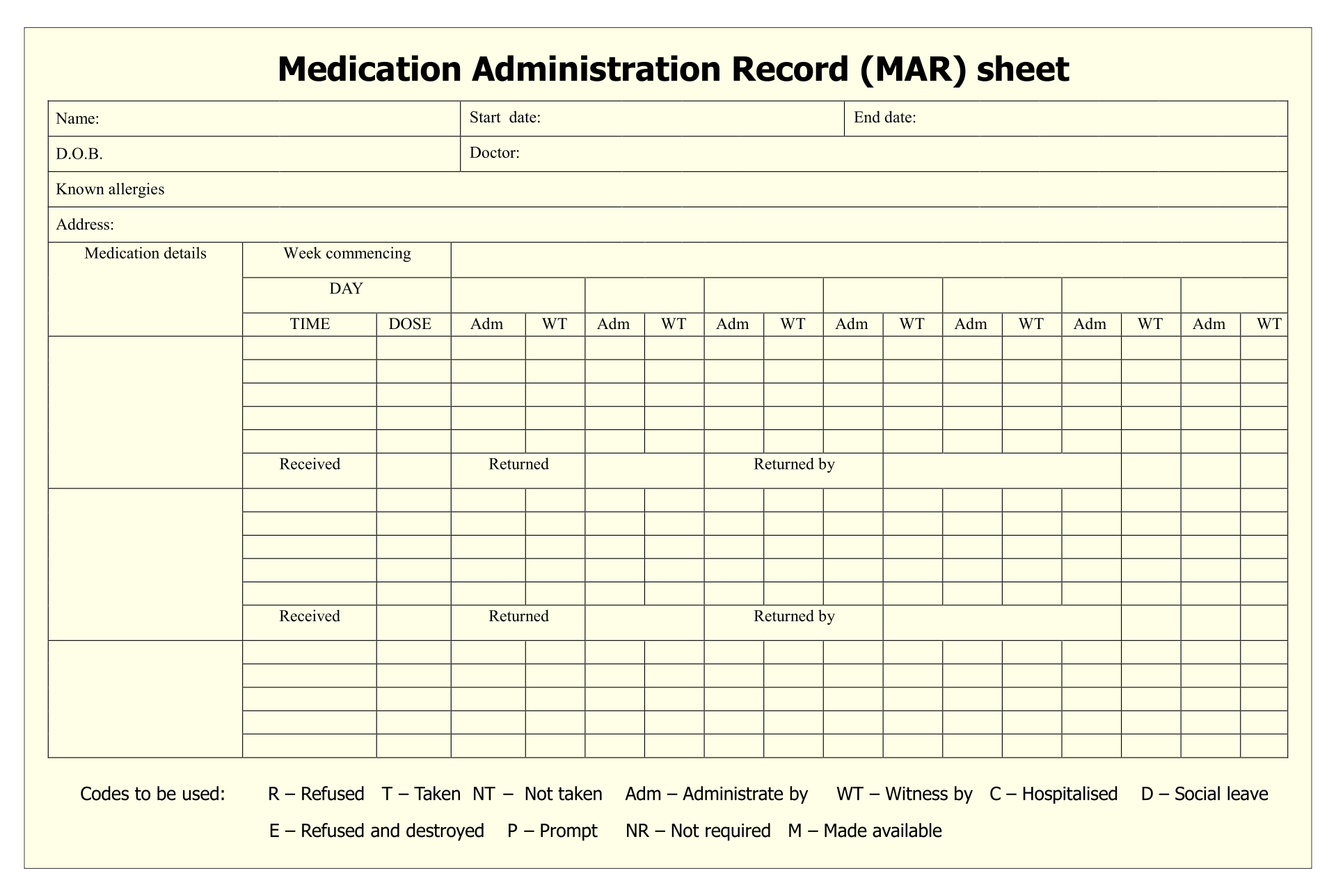 Blank Medication Administration Record