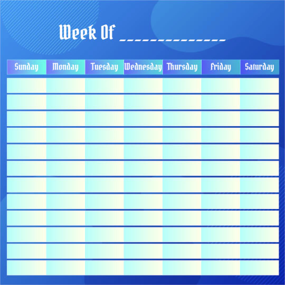Blank Weekly Calendar 2014
