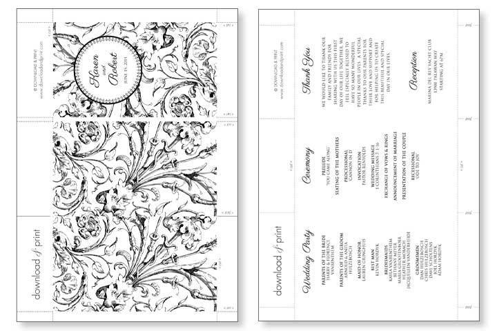 Card Free Printable Wedding Program Template