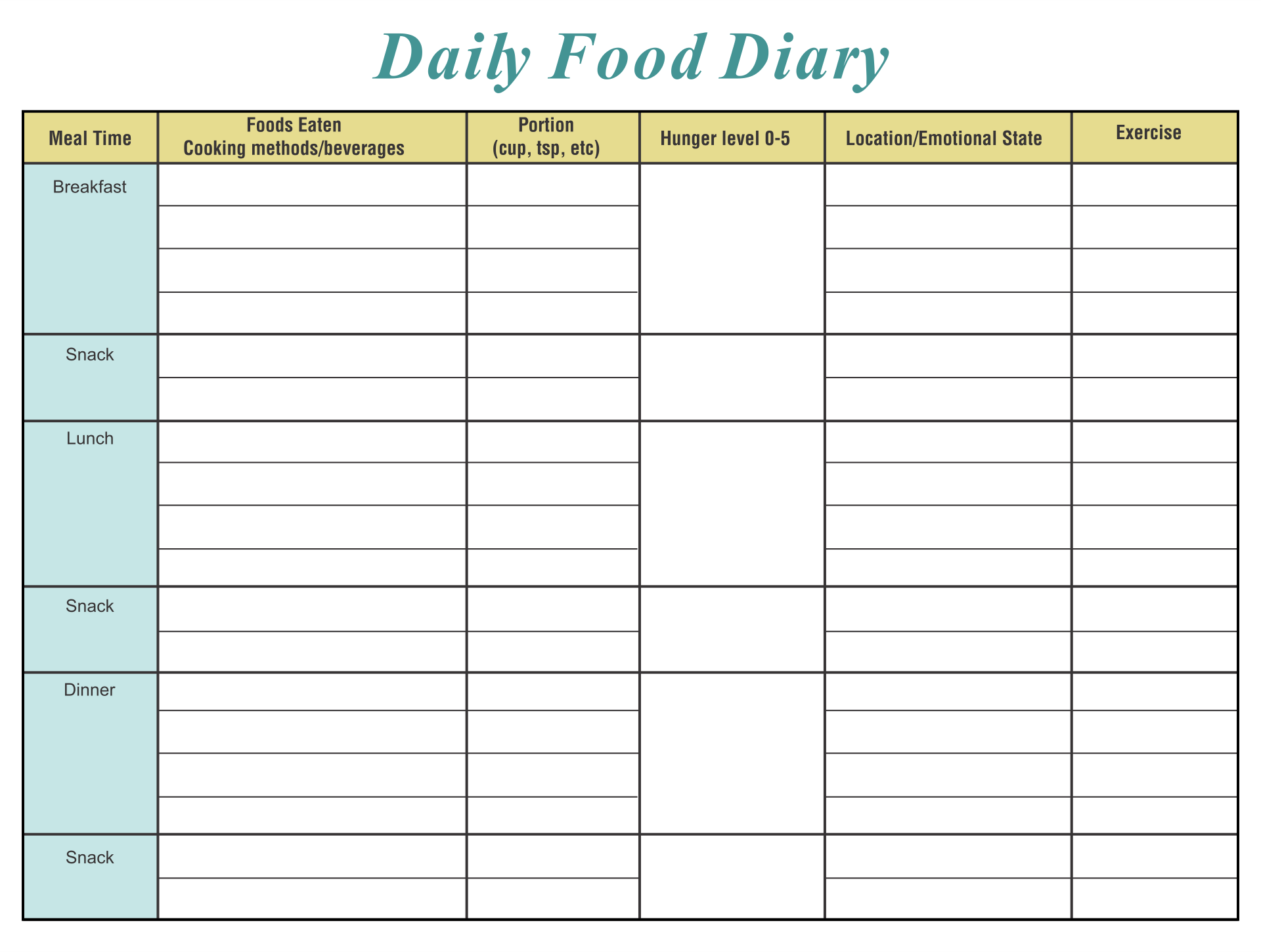 Daily Food Diary Template Printable