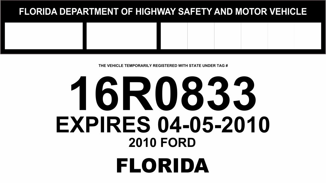 Florida Temporary License Plate