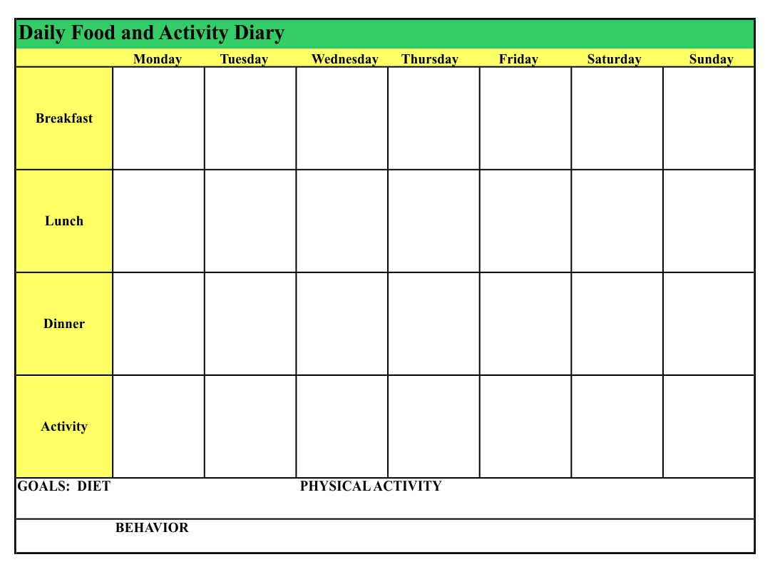 Food Diary Template Printable