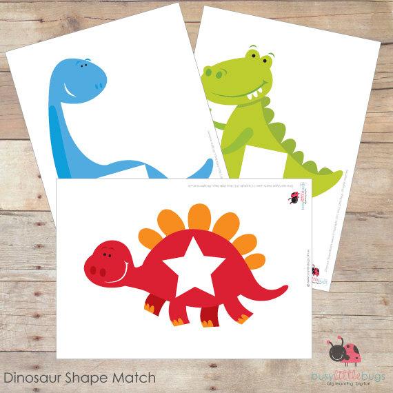 4 Images of Dinosaur Matching Game Printable