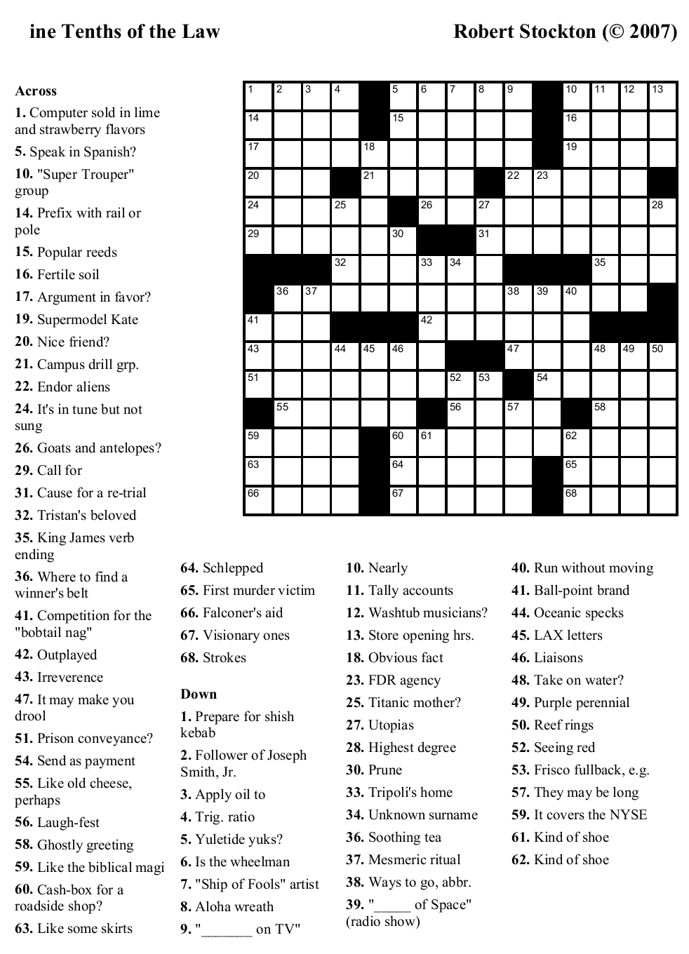5 Images of Big Printable Crossword Puzzles