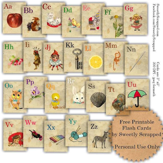 6 Images of Free Printable Vintage Alphabet Flash Cards