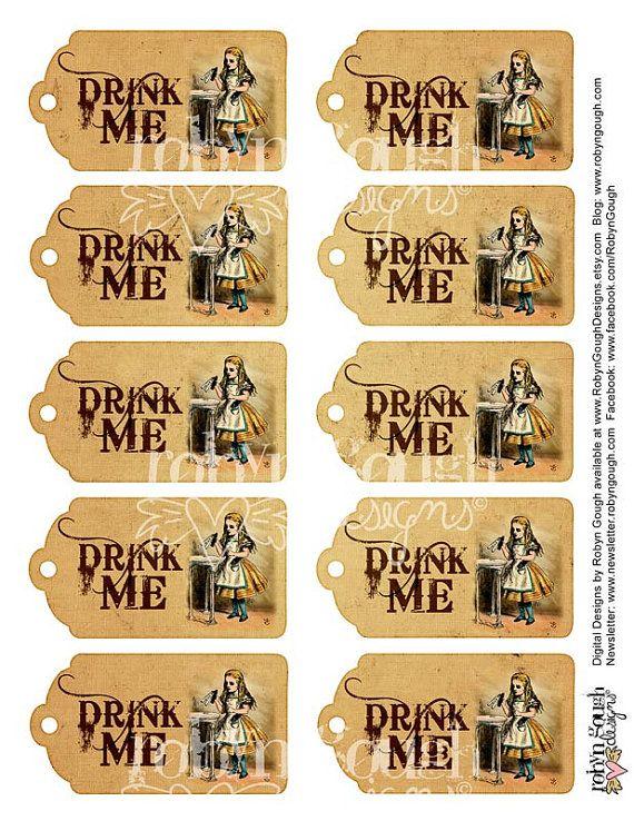 Free Printable Alice in Wonderland Drink Me Tag
