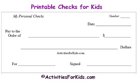 9 best images of printable checks for classroom