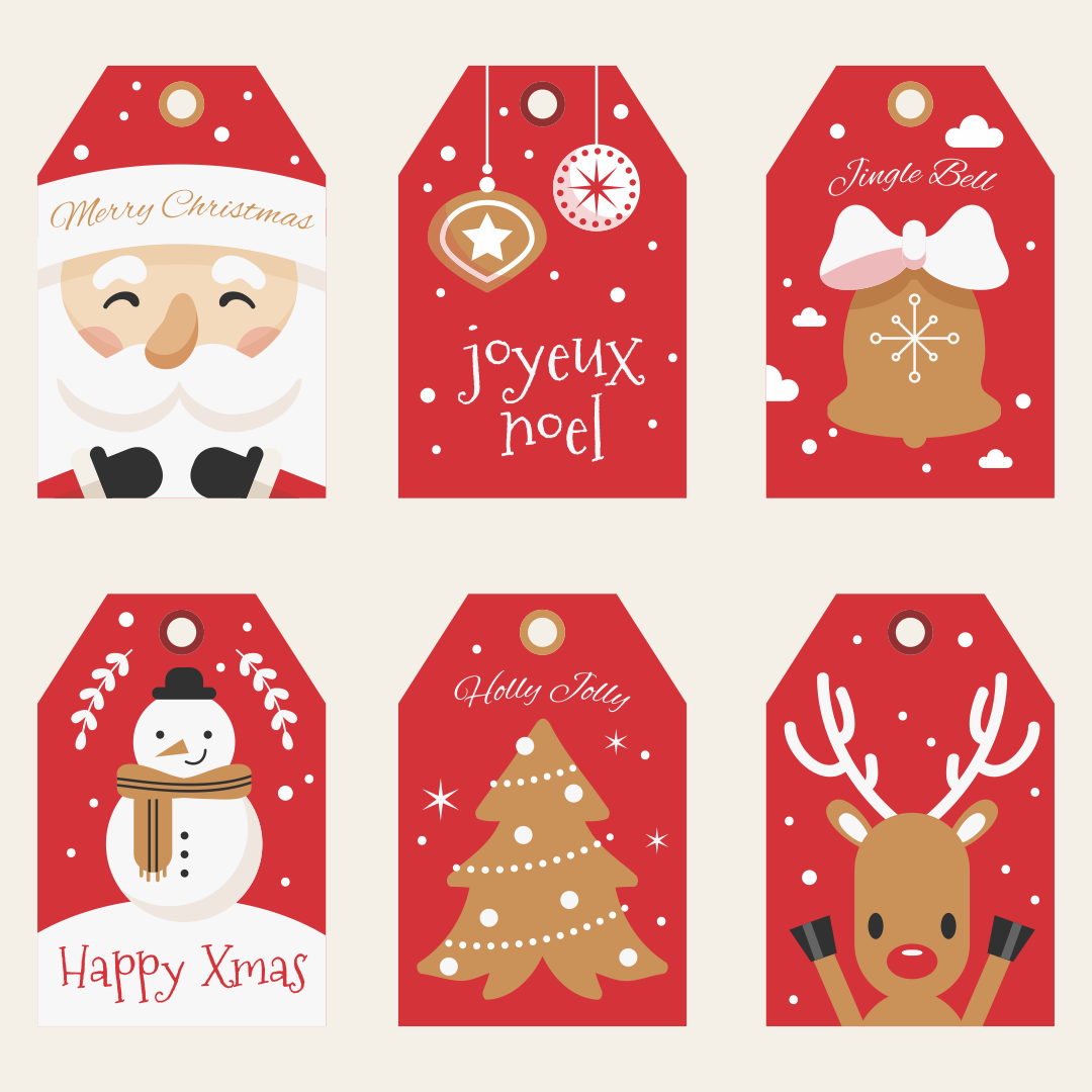 7 Images of Christmas Printable Labels Templates