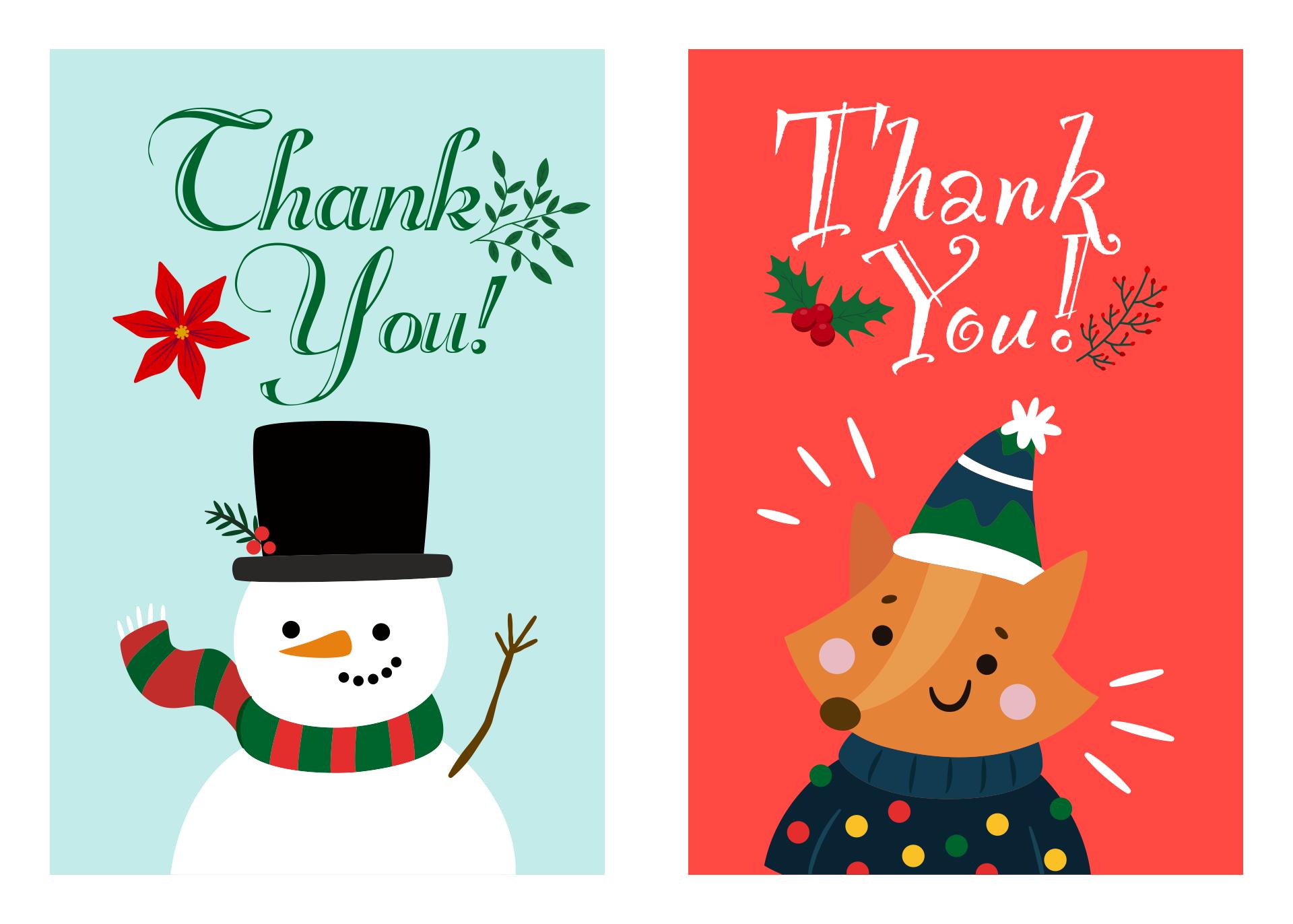 Printable Christmas Thank You Card Templates