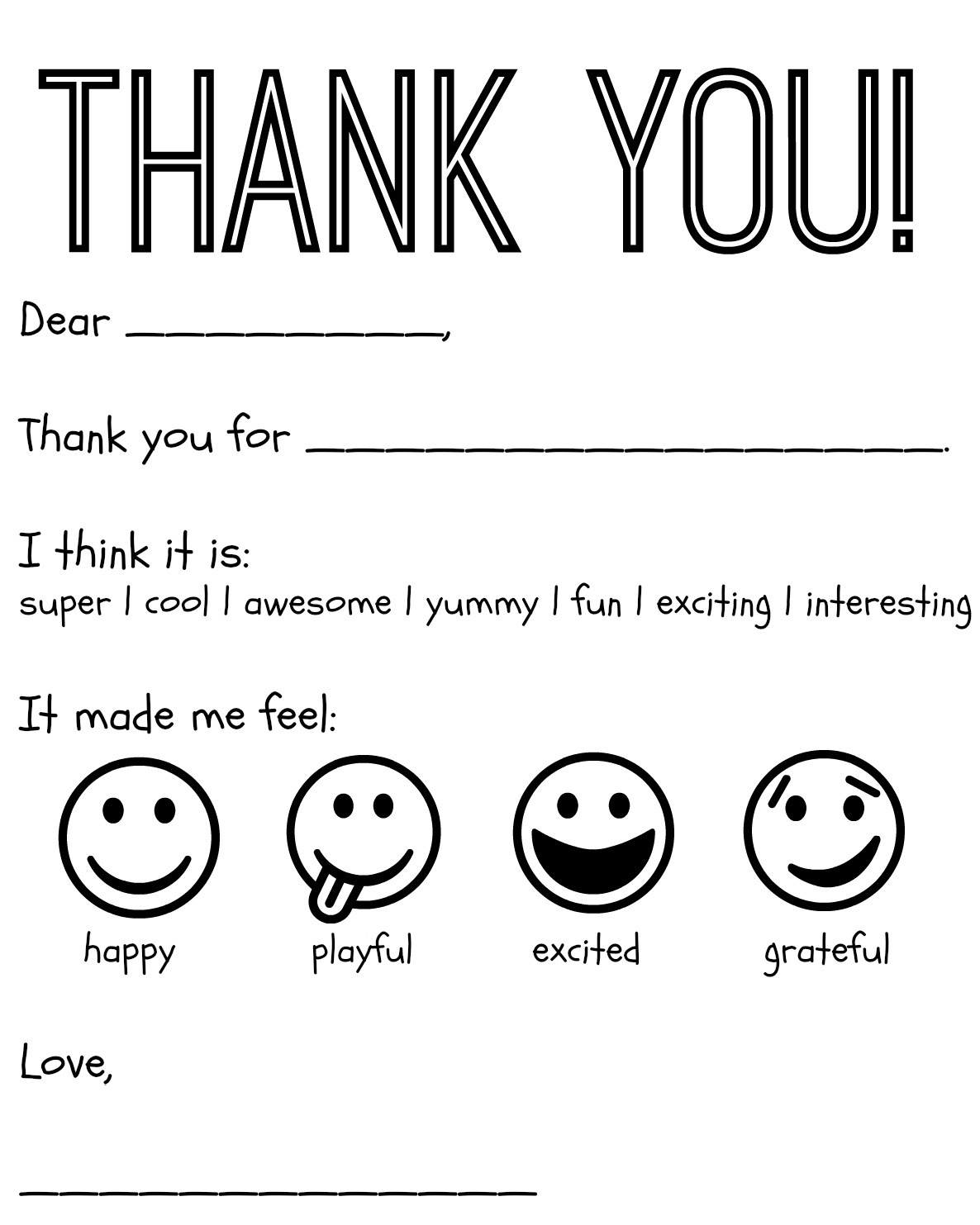 8 Images of Free Printable Thank You Cards To Color