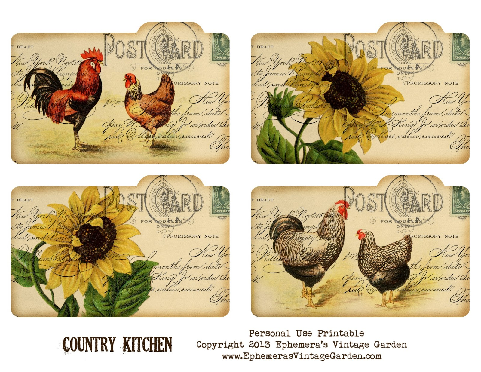 Free Printable Country Recipe Cards