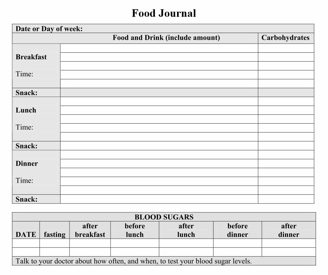 Printable Diabetic Food Journal