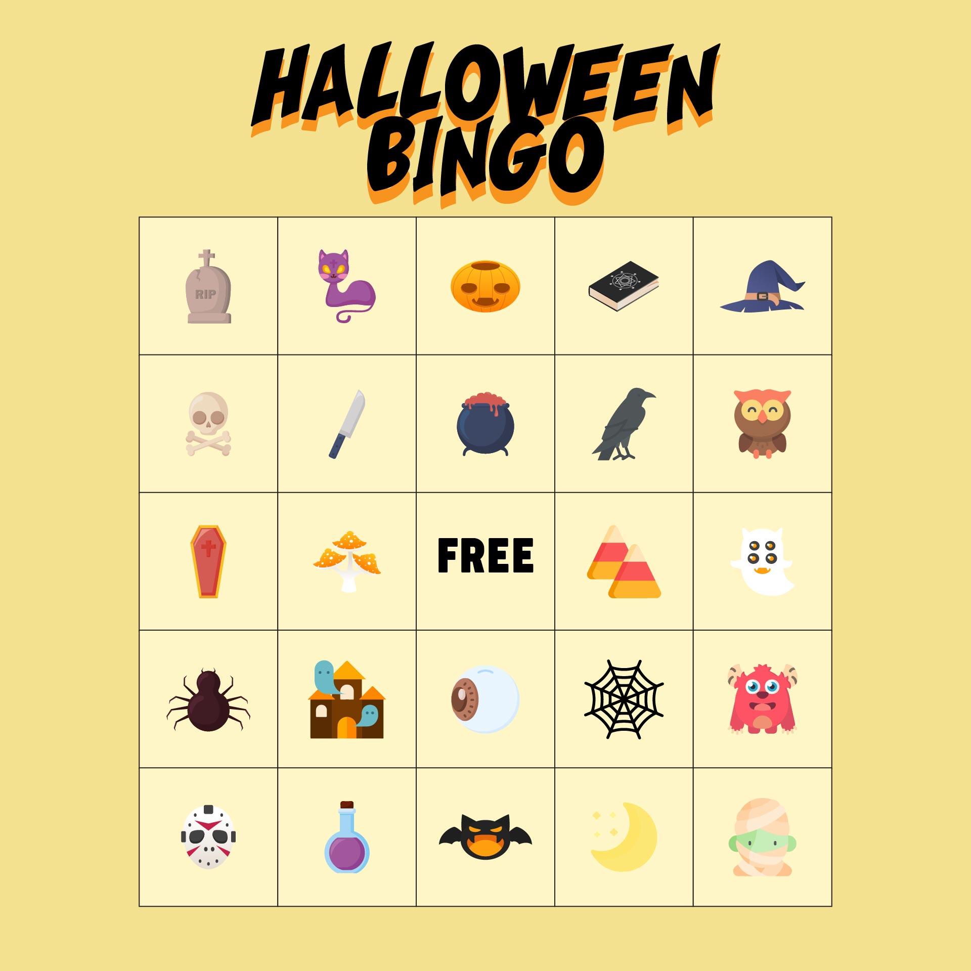 6 Images of Preschool Printable Halloween Bingo Cards