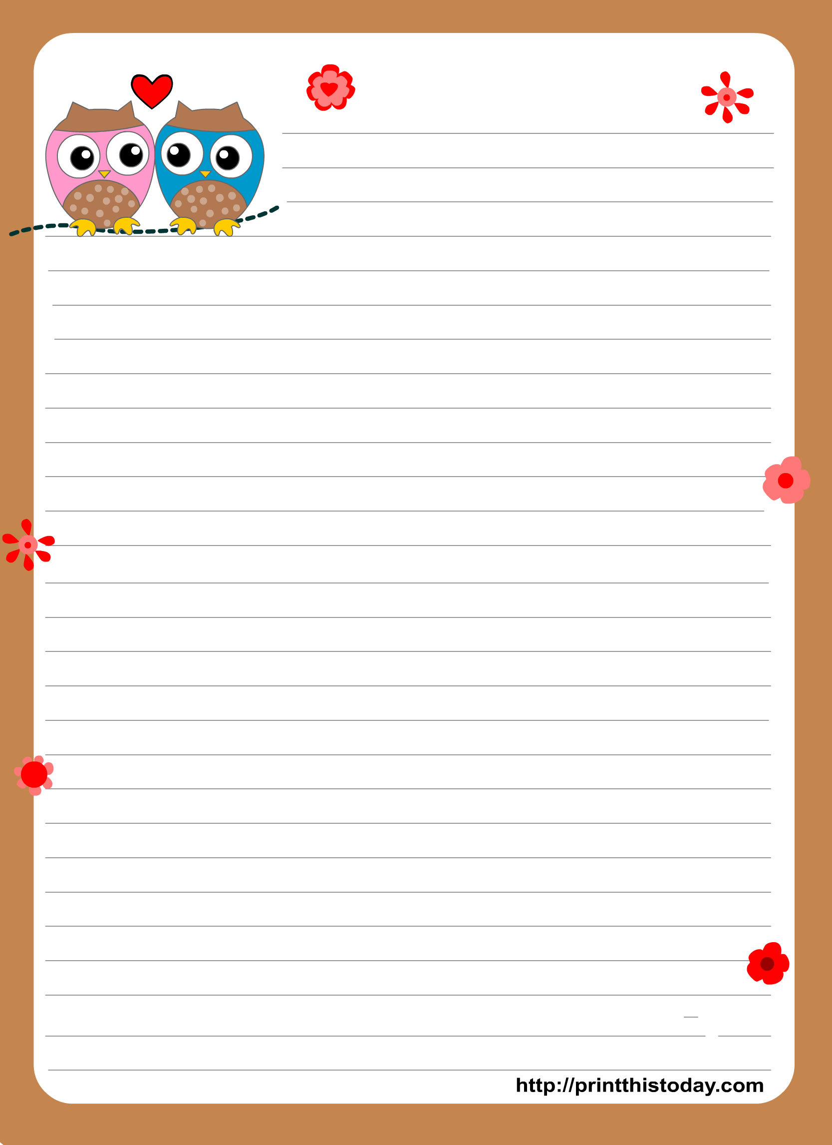 7 Images of Owl Writing Paper Printable